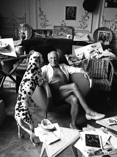 picasso-and-his-dog-pero-cannes-1961-by-edward-quinn