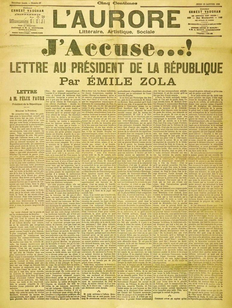 13 janvier 1898 : J'accuse d'Émile Zola