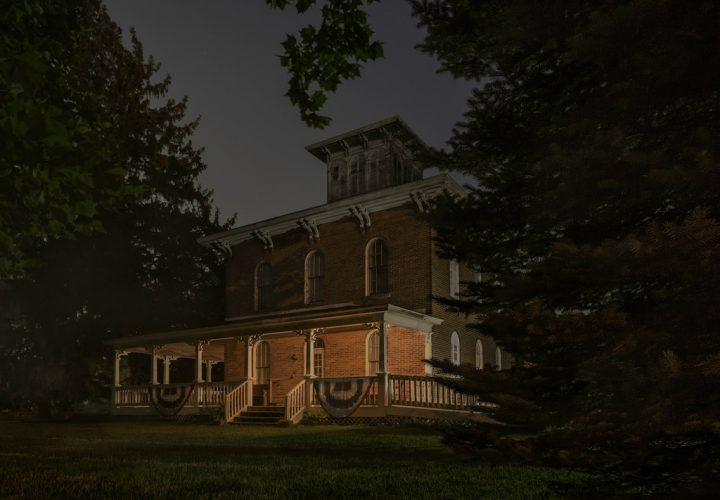 Bird's-Eye-View.-Erastus-Farnham-House,-south-of-Fremont,-Indiana,-2014