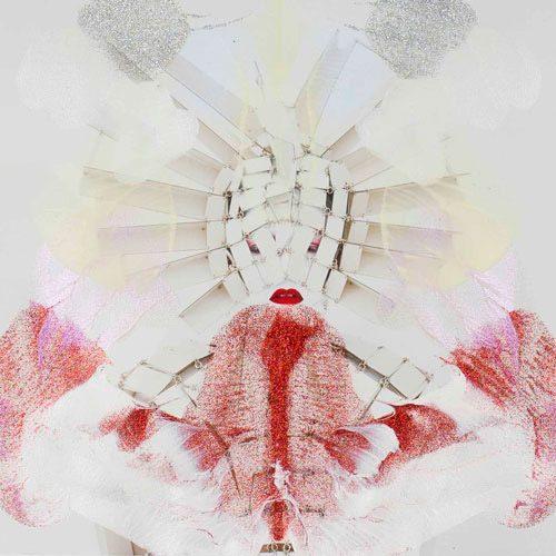 kimiko_yoshida_rorschachyoshida_lxxiv_condottiere_s_2016_phosphorescent_paint_glitter_andacrylic_on_long-life_pigmented_print_on_matt_canvas_26_x_26_cm_courtesy_galerie_dukan