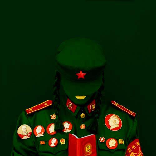 kimiko_yoshida_the_mao_bride_red_guard_green_studying_the_mao-zedong_thought._self-portrait_2010_c-print_mounted_on_aluminium_and_plexiglas_120_x_120_cm_ed._110_courtesy_galerie_dukan