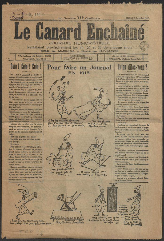 Ephéméride (1916) : reNaissance du Canard Enchaîné