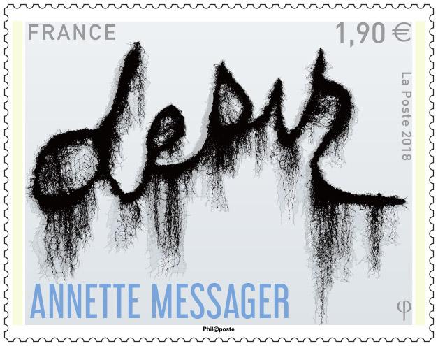 Un timbre postal de l'œuvre «desir» d'Annette Messager
