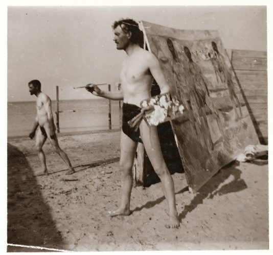 Edvard-Munch--Self-Portrait-on-Beach-with-Brushes