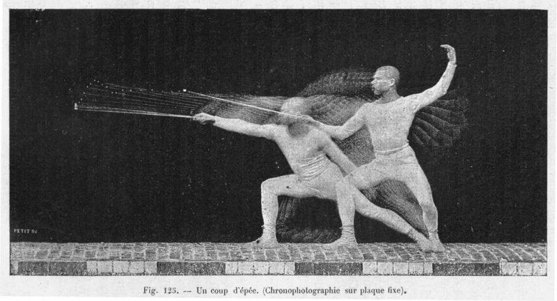 3)-Étienne-Jules-Marey,-Un-coup-d'épée,-chronophotographie-sur-plaque-fixe,-similigravure,-encrage-noir,-dans-Le-Mouvement,-Paris,-Masson,-1894