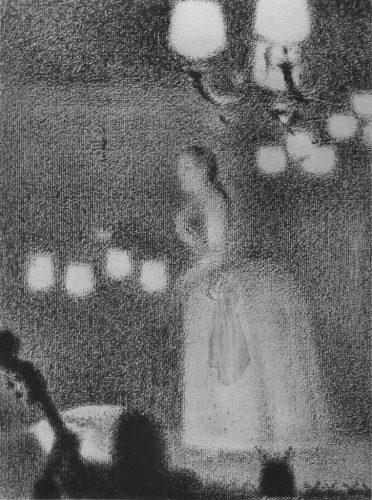 4)-Georges-Seurat,-Au-concert-européen,-dessin-au-crayon,-1887