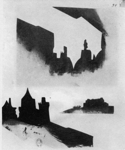 7)-Victor-Hugo,-Silhouette-d'un-château-à-trois-tours,-1856