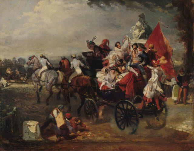 Eugene-Lami,-Scene-de-Carnaval--place-de-la-Concorde,-1834