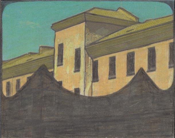 Leopold-Strobl,-Sans-titre,-2018-,-crayon,-crayons-de-couleur-sur-du-papier-journal-recouvert,-5,6-x-9,8-cm-(C)-Galerie-Gugging