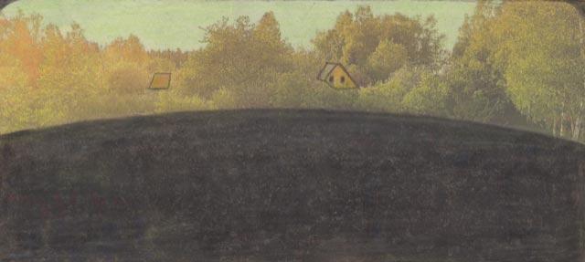 Leopold-Strobl,-Sans-titre,-2018-,-crayon,-crayons-de-couleur-sur-du-papier-journal-recouvert,-7,6-x-16,4-cm-(C)-Galerie-Gugging