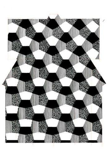 Master-Moriguchi,-Monochrome-1,-2000,-esquiss-e-réalisée-pour-le-Kimono-Hiryô-mon-Pentagones-écarlates-(collection-particulière),-feutres-sur-papier-©-Courtesy-de-l'artiste