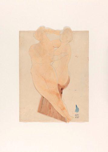 Deux-Femmes-enlacées-crayon-graphite-et-aquarelle-sur-deux-papiers-découpés-et-collés-sur-papier-vélin@musée-Rodin-ph-Jean-ed-Calan