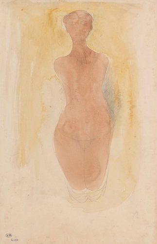 Femme-nue-agenouillée-de-face-crayon-graphite-trait-et-estompe-et-aquarelle-sur-papier-vélin-@musée-Rodin-ph.-Jean-de-Calan