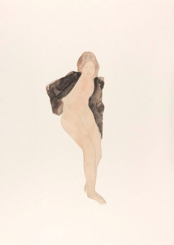 Femme-nue-assise-un-vêtement-sur-les-épaules-crayon-graphite-et-aquarelle-sur-papier-vélin-découpé@musée-Rodin-ph-Jean-de-Calan