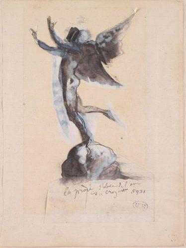 La-prière-sélève-de-lâme-du-croyant-1883-1889-crayon-graphite-encre-plume-et-lavis-gouache-sur-papier-découpé-collé-sur-papier-réglé-@musée-Rodin-ph-Jea-de-Calan