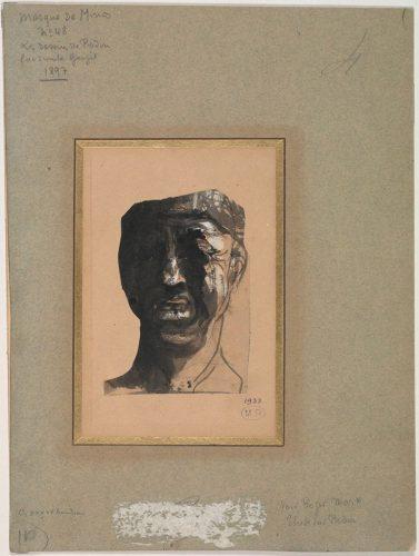 Masque-de-Minos-vers-1883-crayon-Graphite-encre-plume-et-Lavis-et-gouache-sur-papier-découpé-collé-sur-papier-vélin-@musée-Rodin-ph-Jean-de-Calan
