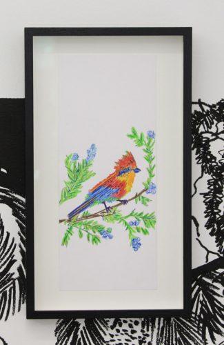 Chourouk-Hriech,-Les-oiseaux-dans-ma-tête-#15,-2020,-aquarelle-et-crayon-de-couleur-sur-papier,-29.7-x-12.7-cm
